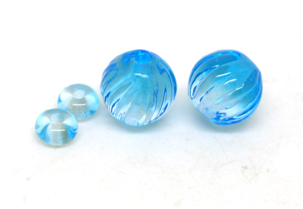 Blue Glass Bead Pair