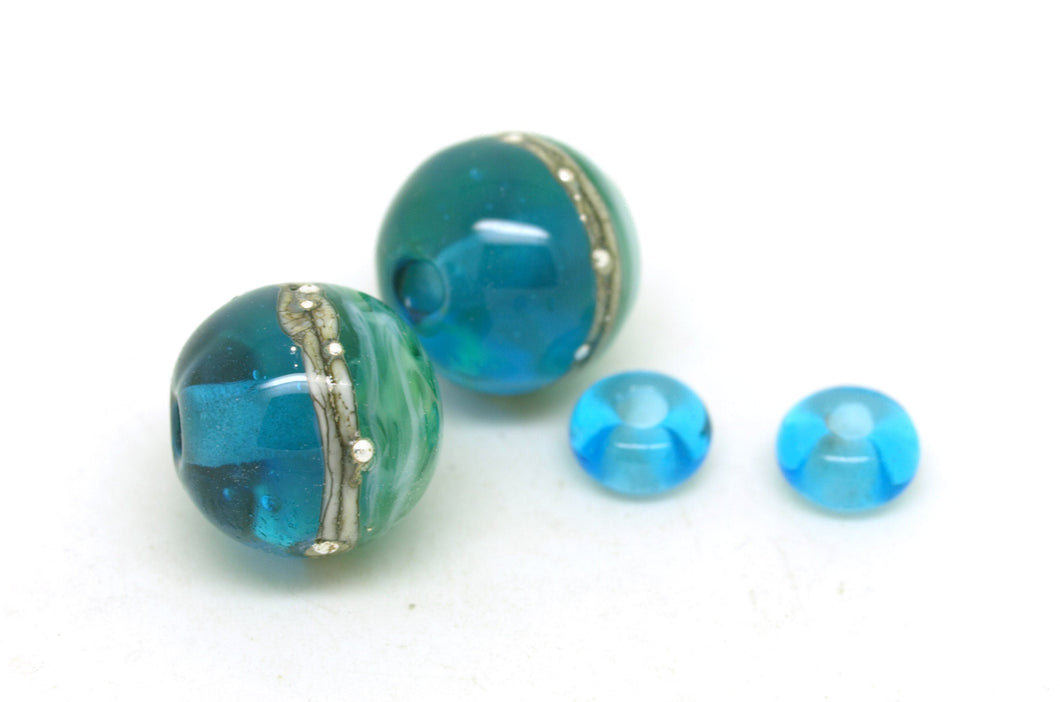 Blue Green Bead Pair