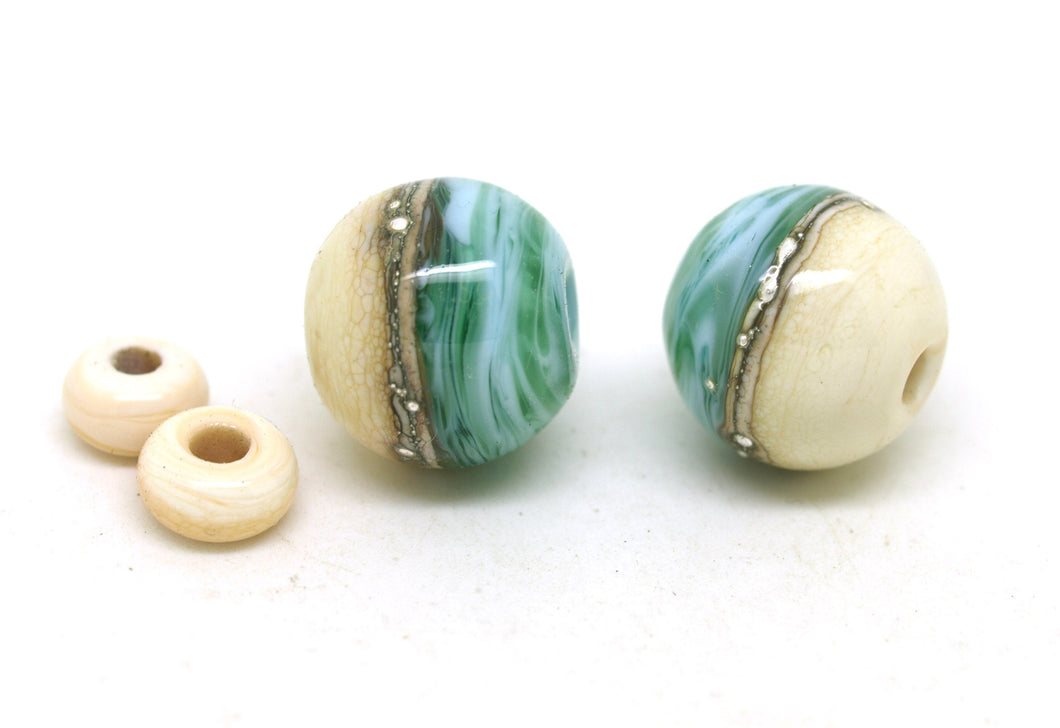 Ivory and Teal Glass Bead Pair