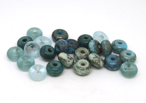 Blue Green Aged Glass Lampwork Bead Set