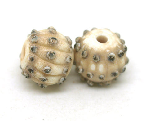 Ivory Sea Urchin Glass Bead Pair