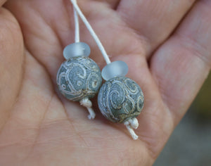 Aged Blue Glass Bead Pair