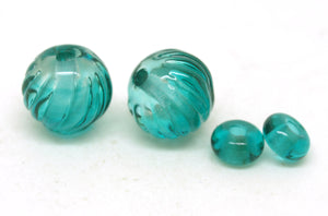 Green Ombre Glass Bead Pair