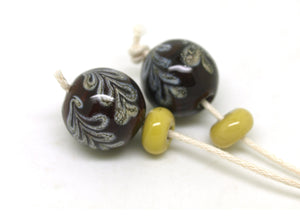 Brown Glass Bead Pair - SRA Lampwork Beads