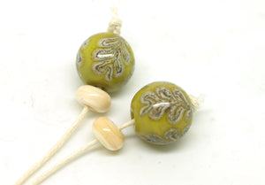 Green Oak Glass Bead Pair