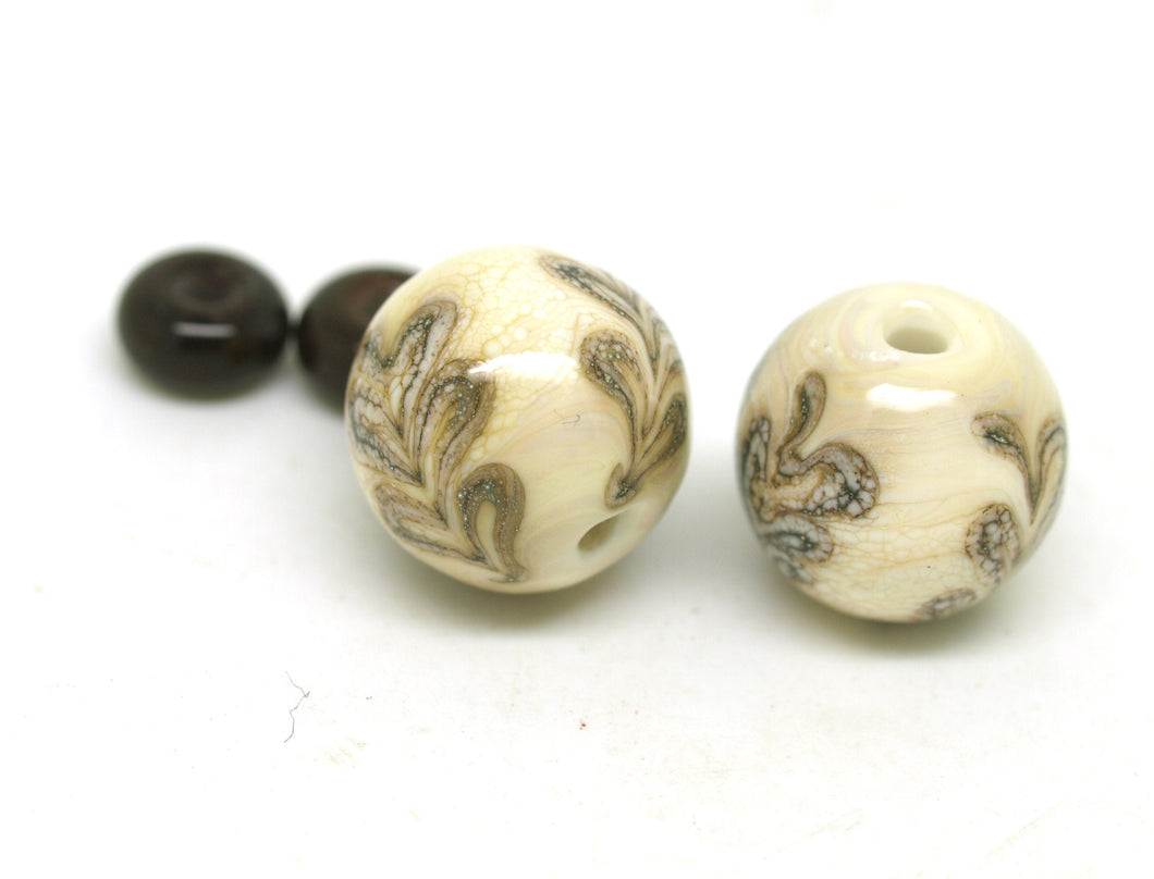 Ivory Oak Leaf Glass Bead Pair
