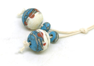 Southwestern Bead Pair - Aged Lampwork Beads SRA
