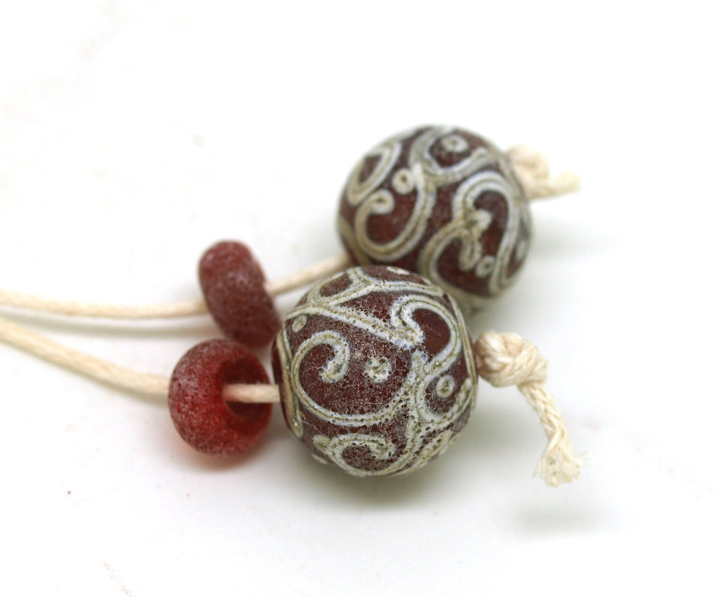 Red Glass Bead Pair - Aged Lampwork Beads SRA