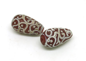 Red Aged Glass Bead Pair - SRA Lampwork Beads