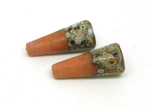 Terracotta and Raku Glass Bead Pair