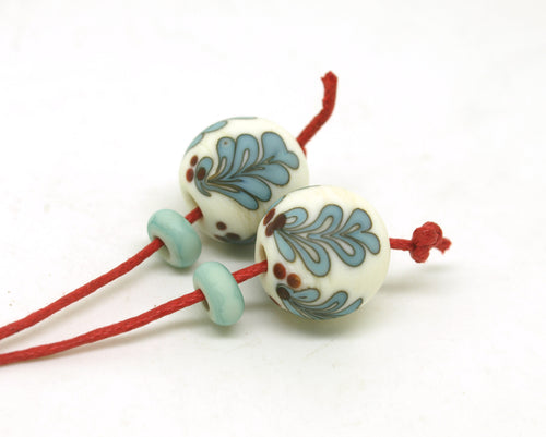 Christmas Holly Lampwork Bead Pair