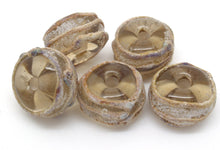 Load image into Gallery viewer, Brown And Raku Glass Beads - SRA Lampwork