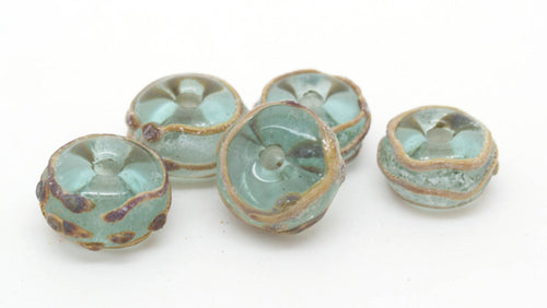 Aged Green and Raku Glass Beads