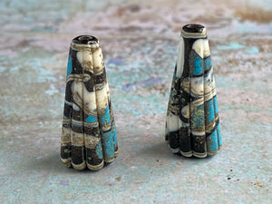 Rustic Cone Pair in Black, Turquoise & Ivory
