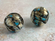 Load image into Gallery viewer, Round Rustic Pair in Turquoise Black & Ivory