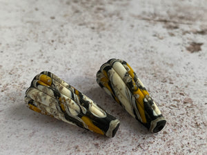 Rustic Cone Pair in Black, Ochre & Ivory