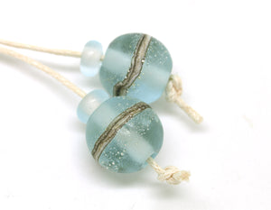 Frosted Pale Blue Lampwork Bead Pair