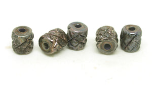 Textured Metallic Tube Beads