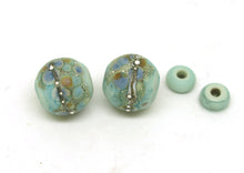 Load image into Gallery viewer, Pretty Green Lampwork Bead Pair with Pastel Frit Blend