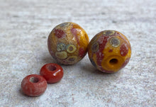 Load image into Gallery viewer, Rustic Coral and Ochre Glass Bead Pair