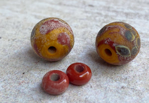 Rustic Coral and Ochre Glass Bead Pair