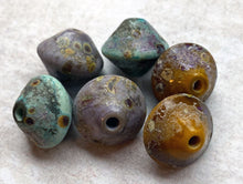 Load image into Gallery viewer, Muted Rustic Bicone Bead Set - Violet, Copper Green, Ochre Yellow