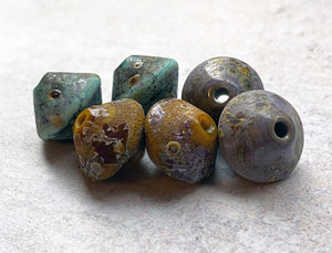 Muted Rustic Bicone Bead Set - Violet, Copper Green, Ochre Yellow