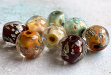 Load image into Gallery viewer, Encased Glass Nugget Beads - Autumn Raku Pairs