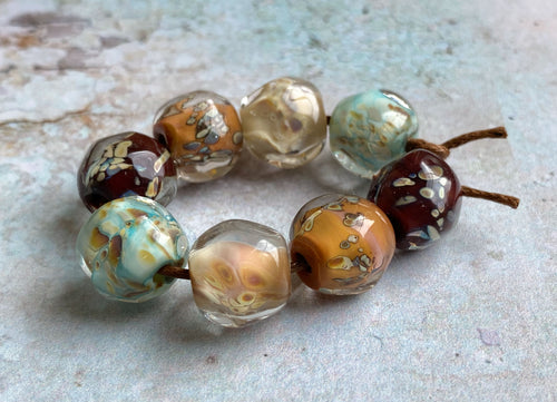 Encased Glass Nugget Beads - Autumn Raku Pairs