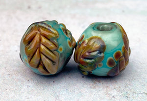 Raku Oak Leaf Bead Pair