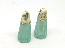 Load image into Gallery viewer, Ivory and Antique Green Ridged Bead Pair