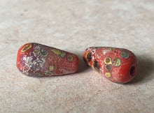 Load image into Gallery viewer, Rustic Teardrop in Coral Red and Raku