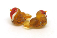 Load image into Gallery viewer, Glass Lampwork Robin Bead Pair.