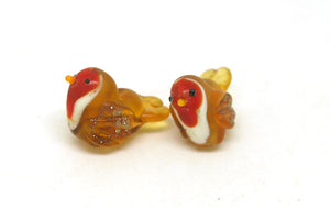 Glass Lampwork Robin Bead Pair.