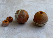 Load image into Gallery viewer, Aged Terracotta Glass Bead Pair