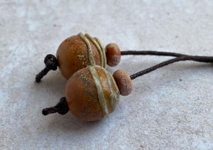 Aged Terracotta Glass Bead Pair