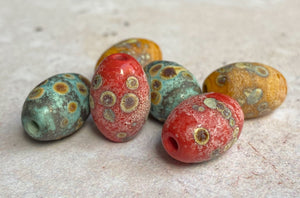 Rustic Barrel Bead Set - Copper Green, Coral Red, Ochre