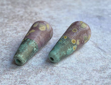 Load image into Gallery viewer, Long Teardrop Bead Pair - Rustic Violet and Copper Green