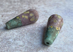 Long Teardrop Bead Pair - Rustic Violet and Copper Green