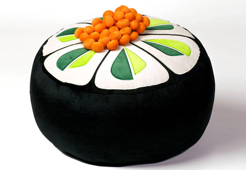 Sushi Style Cucumber Pouf with Salmon Roe pillow