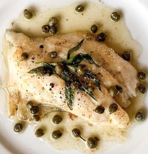 PAN SEARED FISH WITH CAPER BROWN BUTTER