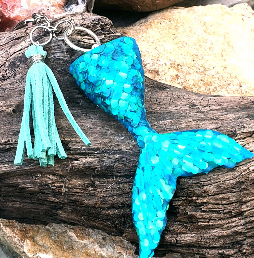 Mermaid Tail Resin Keychain - Shabbydabbsdesign