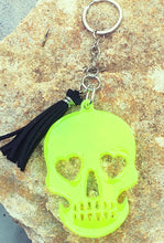 Load image into Gallery viewer, Glow in The Dark Yellow Head Skull Keychain - Shabbydabbsdesign