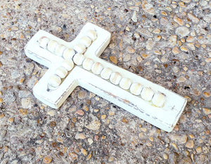Small White Beaded Wood Cross/Home Decor - Shabbydabbsdesign