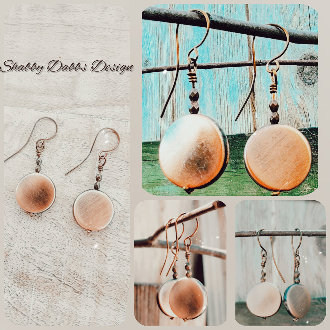 Copper disc earrings
