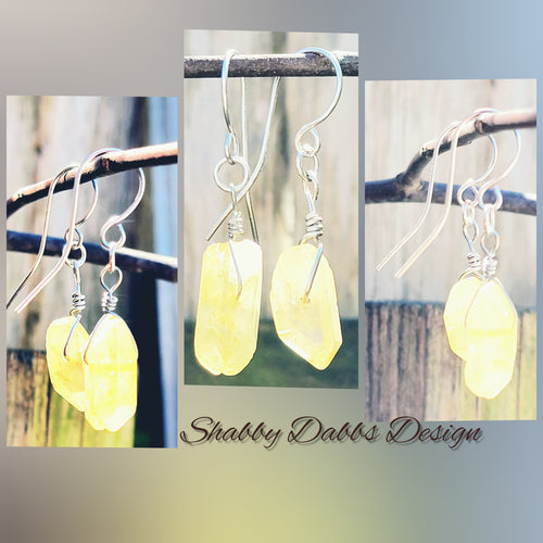 Wire Wrapped Stone Earrings - Shabbydabbsdesign