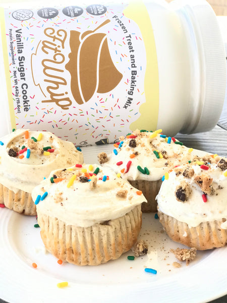 Fit Whip Vanilla Protein Frosted Cupcakes