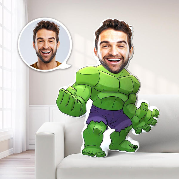 Father's Day Gift Custom Hulk MiniMe Pillow Face Pillow Personalized Incredible Hulk Pillow Custom Pillow Picture Pillow Costume Pillow Doll Super Hero Toy New