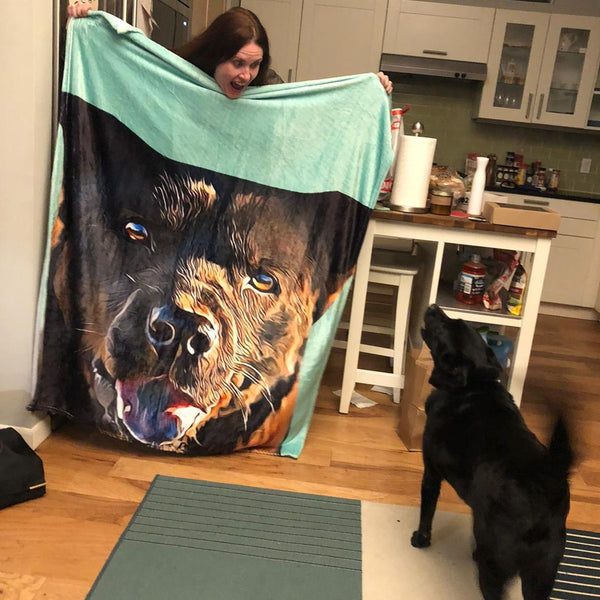 Custom Dog Blankets Personalized Pet Photo Blankets Painted Art Portrait Fleece Blanket Best Gift 2021 Pet Portrait Blanket Black Dog
