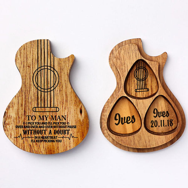 Custom Wooden Guitar Picks Box Holder Set, Customized Guitar Picks with Your Texts, Personalized 3PCS Wood Pick Guitar Music Gift for Guitar Lover